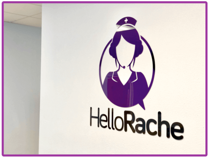 Hello Rache Office Sign - Healthcare Virtual Assistants